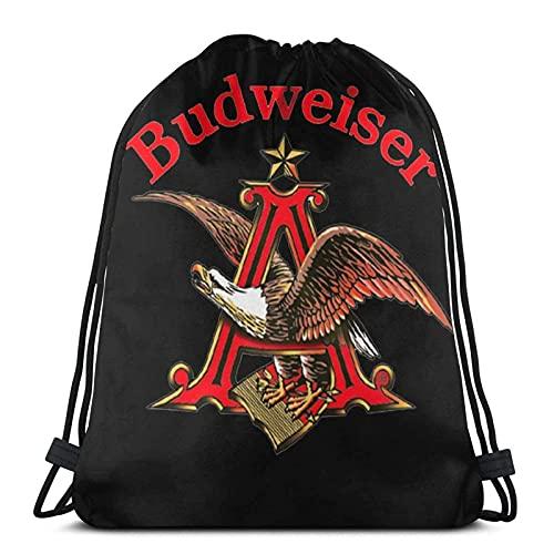 TYSS Mochila con cordón, logotipo de la cerveza Budweiser, bolsa de cuerda de nailon resistente al agua, bolsa de playa para gimnasio, compras, deportes, yoga, medias de Navidad