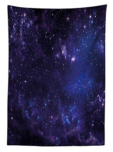 Yeuss Galaxy Nappe c¨¦leste ¨¦toiles du ciel nocturne Stardust dans les nuages Magical Monde imaginaire de l'espace, salle ¨¤ manger Table rectangulaire Coque, Noir, Bleu marine, 52\