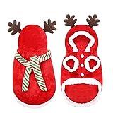 SDFCZ Hiver Chaud Chien vêtements Wapiti Chien de Noël Manteau à Capuche vêtements Nouvel an Pet vêtements Noël Chiot décoration Costume-Rouge, L, Belgique