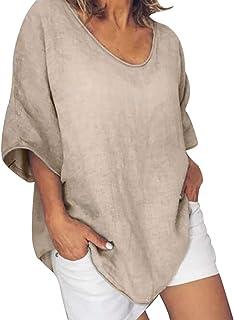 Womens Loose Tops,Women's Summer Short Sleeve Blouses T-Shirt V-Neck Loose Oversize Shirt Tops Cotton Linen