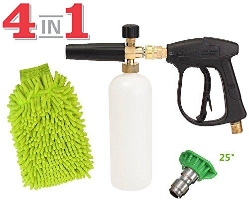 SPAUTO High Pressure Washer Gun 3000 PSI Foam Wash Gun Snow Foam Lance Foam Cannon Blaster with M22-14mm Thread and Wash Mitt & Nozzle Set