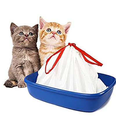 BILIEASY Cat Litter Box Liners large with Drawstrings 10 Pack Scratch Resistant Bags for Medium and Large Litter Box (M, WHITE)