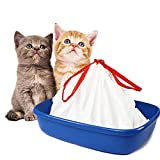 BILIEASY Cat Litter Box Liners large with Drawstrings Scratch Resistant Bags for Medium and Large Litter Box 10 Pack (L, WHITE)