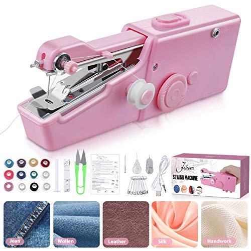 Jeteven 31Pcs Mini máquina de coser, máquina de coser a mano, portátil eléctrica manual, para coser rápidamente, adecuada para ropa DIY, cortina, tela de algodón (versión actualizada/Envío europeo)