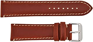 Hadley Roma MS885 20mm Chestnut Oil Tan Leather Contrast Stitch Watch Band
