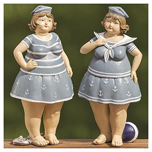 Badenixe maritim mit blauem Kleid stehend 21 cm Mädchen Rubensfrau mollige Dame Dicke Frau Schwimmerin Badezimmer Figur Meer Nostalgie