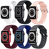 Supore 6 Pack Apple Watch Correa, Compatible con Apple Watch 38mm 42mm 40mm 44mm Correas, Correa de Silicona Suave de Deportiva Repuesto Compatible con Apple Watch SE / iWatch Serie 6 5 4 3 2 1