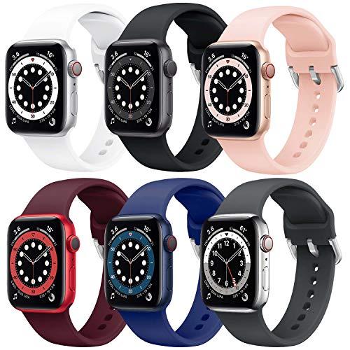 Supore 6 Pack Apple Watch Correa, Compatible con Apple Watch 38mm 42mm 40mm 44mm Correas, Correa de Silicona Suave de Deportiva Repuesto Compatible con Apple Watch SE / iWatch Serie 6 5 4 3 2 1