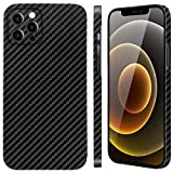 Designed for iPhone 12 Pro Max 6.7 inch Carbon Fiber Case, Thin and Slim Durable Phone Cover 0.03in 0.4oz Lightweight, Supports Wireless Charging, Black & 1 Pack