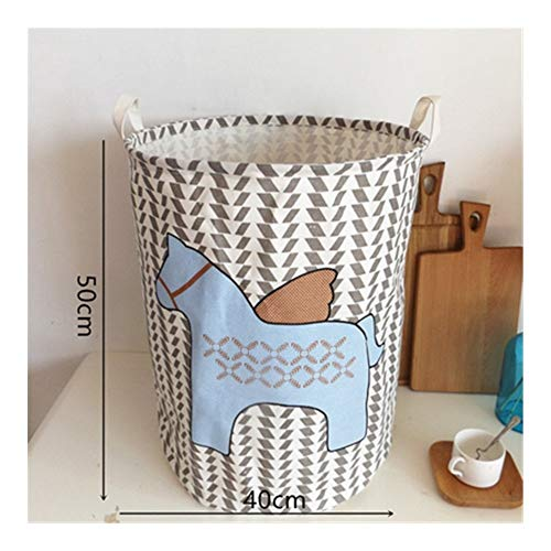 SSLHDDL Cartoon Horse Storage Bucket Bed Room Dirty Clothes Storage Bucket Baby Toy Debris Round Waterproof Storage Bucket (Color : Maisuixiao)