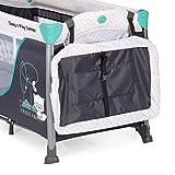 Hauck Sleep N Play Center 3, Reisebett 7-teilig ab Geburt bis 15 kg, faltbar und kippsicher, Neugeborenen Einhang, Wickelauflage, seitlicher Ausstieg, Netztasche, Räder, Transporttasche, türkis - 15