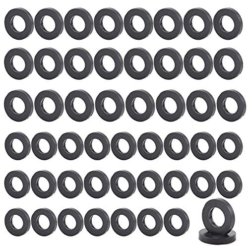 50 Piezas Arandela Espaciadora Redonda Negra Unidades Junta Tórica De Goma Arandela Plana de Plastico Nitrilo Junta Redonda Goma O-ring para Grifos, Válvulas de Codo, Mangueras, 2 Tamaños