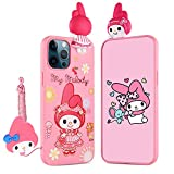 HikerClub iPhone 11 Case My Melody 3D Cartoon Case Kawaii Unique Protection Case with Detachable Long Lanyard Neck Strap Band Soft Lovely Cover for Girls Children Kids (iPhone 11)