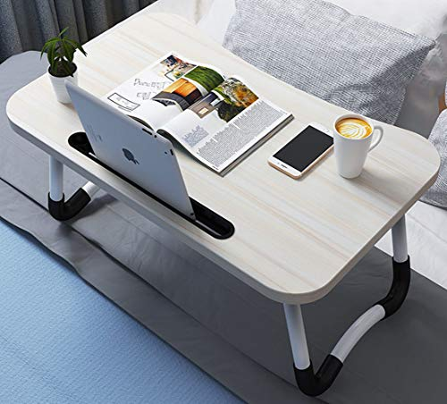 OPPIS Portable Laptop Desk for Bed - Laptop Bed Tray Table with Foldable Legs and Tablet Slot, Lap Desk, Breakfast TV Tray, Bed Table for Eating and Writing and Laptop on Sofa Couch-Beige