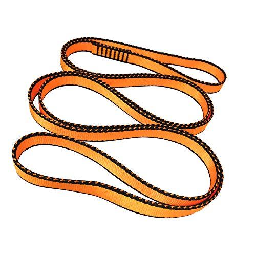 FOSER 18mm Nylon Kletterschlinge Runner, 23KN Nylon Seil, zum Klettern, Bergsteigen, Wandern, Downhill, Notfallausrüstung (Orange(1pcs), 120cm/48in)