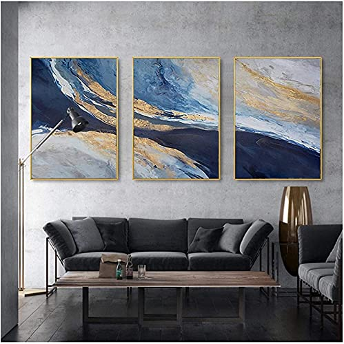 3 Piezas 30x50cm Sin Marco Póster de lámina Dorada Abstracta Paisaje del océano Azul Imágenes artísticas de Pared Imprimir Sala de Estar Decoración nórdica del hogar