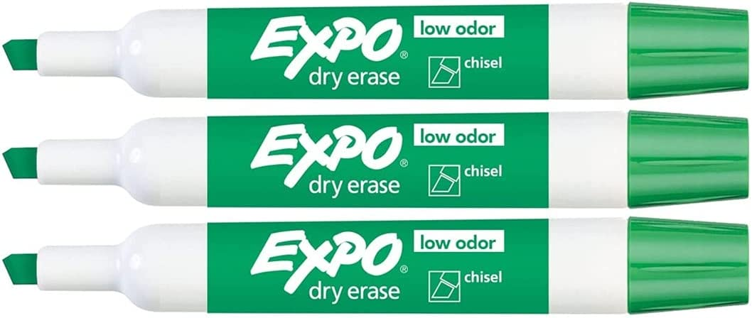 Green Chisel Tip Super beauty product restock Special price for a limited time quality top Dry Erase Markers School Perfect Odor for Low
