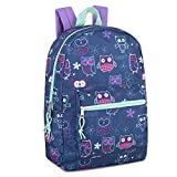Girls' All Over Printed Backpack 17 Inch Backpack for Girls With Padded Straps (Owl)