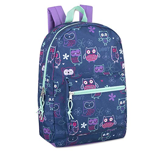 Trail maker Girls' All Over Printed Backpack 17 Inch With Padded Straps (Owl)