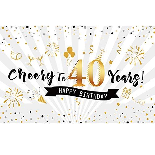 40. Geburtstag Party Dekoration Fotohintergrund, BDDFOTO 2 * 1.5m Extra Große Stoff Schild Poster zum 40. Jahrestag Foto Stand Hintergrund Banner