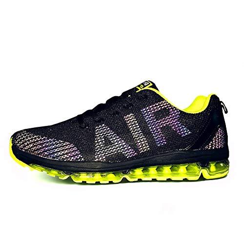 TORISKY Unisex Sportschuhe Herren Damen Laufschuhe Sneakers Turnschuhe Fitness Mesh Air Leichte Schuhe Rot Schwarz Weiß (A61-Green45)