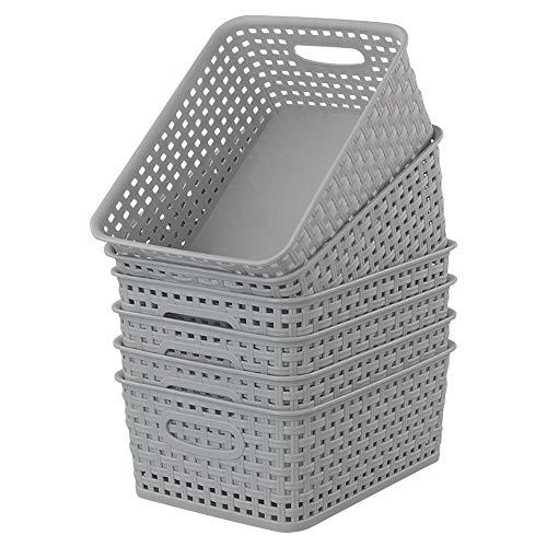 Cadine Grau AufbewahrungsköRbe Plastik, 6 StüCk, Klein Korb Aufbewahrung Kunststoff