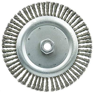 "Weiler 36297 Wolverine 7"" Knot Wire Wheel, Stringer Bead Twist.020"" Steel Fill, 5/8""-11 UNC Nut (Pack of 10)"