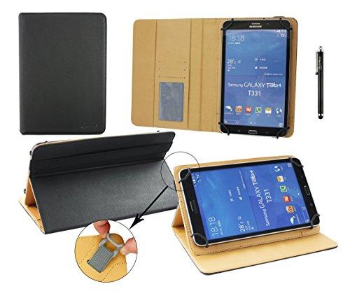 emartbuy® GoClever Insignia 800M 8 Zoll Tablet Universal (7-8 Zoll) Schwarz PremiumPULederMulti AngleExecutiveFolioWalletCase CoverTanInteriormit Kartensteckplätze + Schwarz Eingabestift