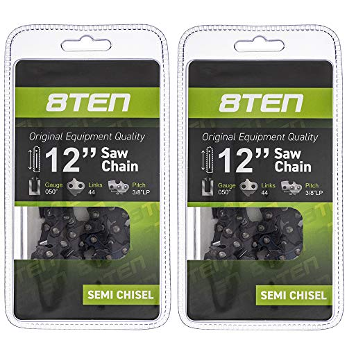 8TEN Chainsaw Chain for Stihl MS 180 170 010 012 McCulloch PM400 12 inch Bar .050 Gauge 3/8 Pitch 44 Drive Links 2 Pack