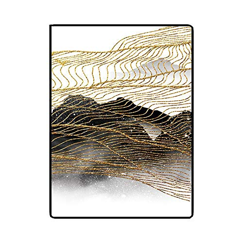 Fashion Abstract New Chinese inkt Gold Gele Lijn Bedroom Living Room Floor Mat Tapijt Tapijt-4.7 (Color : Landscape abstraction, Size : 45 * 75CM)
