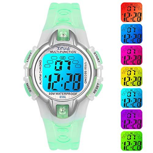 Reloj para Niños Digital, 7 Colores Luz Intermitente LED 50M Impermeable Reloj Infantil Digital para Niña Multifunción con Alarma Cronógrafo para Niños Niñas (Púrpura)