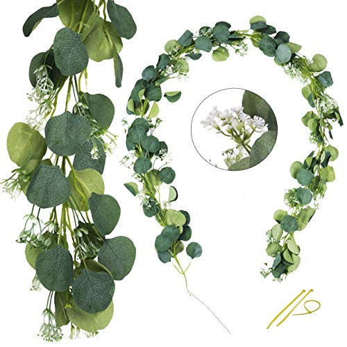 MINTOLE 12 ft Artificial Eucalyptus Garland with Baby's Breath Decoration Garlands Foliage Green Fake Table Wedding Arch Decorations Gypsophila Flowers Arrangements Bucket Party Decor (2 Strands)