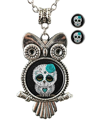 Sechao Custom Glamour Woman Owl Necklace Pendant Stud Earrings Set (Sugar Skull Owl Stars)