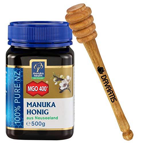 Manuka Health Manuka Honig MGO 400+ [500g] 100% Pur aus Neuseeland mit zertifiziertem Methylglyoxal Gehalt + Davartis Honiglöffel aus Kirschholz 15cm