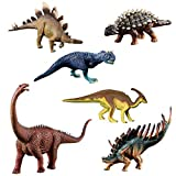 HOMNIVE Dinosaur Toys - 6 Pcs Kids Realistic Dinosaur Figures - Learning Educationl Toys for Kids Toddler Boys Girls (Alamosaurus, Carnotaurus etc)