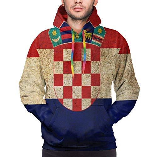 Mens Fashion Hoodies Vintage Kroatien Flagge Sweatshirts mit Taschengröße XL