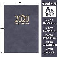 A5緑:2020スケジュール365日ビジネスオフィスのノートブック-A5ダークGreen_、色名称ノートブックノートパッド (Color : A5 Premium Blue)