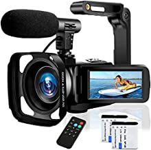Video Camera Camcorder with Microphone Ultra HD 2.7K 30MP YouTube Vlogging Camera 3.0 Inch IPS Touch Screen 16X Digital Zoom Camera Recorder with Handheld Stabilizer and Remote Control