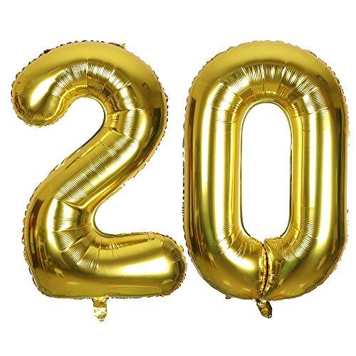 SMARCY Ballon pour Le 20ème Anniversaire Décoration de 20 Ans Grands Chiffres 2 et 0 (Doré)