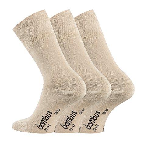 TippTexx24 Bambussocken, 6 Paar Komfort Socken mit GERUCHS-KILLER Funktion & Antiloch-Garantie (Beige, 43/46-6Paar)