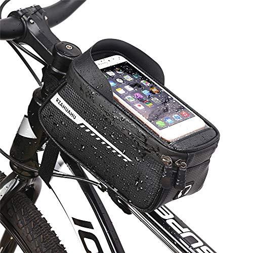 自転車バッグ、フレームバッグ、スマートフォンホルダー、防水、大容量、軽量、6.5インチ対応スマートフォン、イヤホン穴/軽量、取り付けが簡単自転車バッグアクセサリー/自転車/マウンテンバイクに適しています