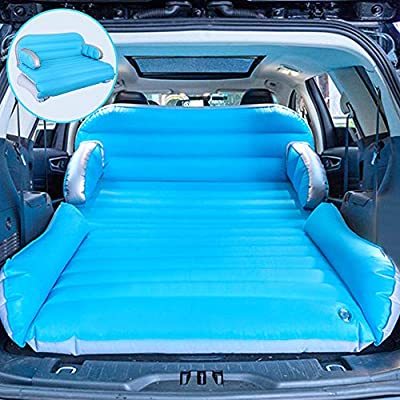 QDH Car Travel Bed, SUV Car Air Mattress Outdoor Camping Portable Mattress with Electric Air Pump Fast Inflation, 3 in 1 Upgraded Double-Sided Thickened Flocking Surface Home Sofa Bed