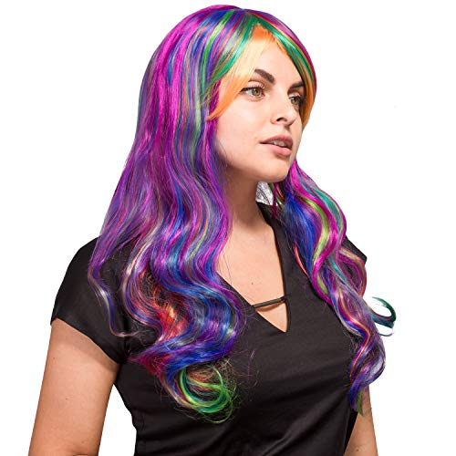 AGPtek Frauen lange gewellte lockige Perücke, Cosplay Party Halloween Kostüm Synthetische Spitze Voll Perücke mit freiem dehnbaren Haarnetz (Grelle) -