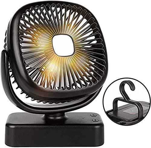 Linterna LED recargable por USB, 4400 mAh, funciona con pilas, ventilador de escritorio con luz nocturna, ventilador portátil para tienda de campaña