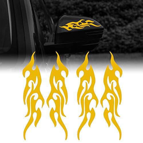 TOMALL 4 piezas pegatinas reflectantes de llama de 19 cm para coches de carreras de llama calcomanías de rayas deportivas para carrito de golf impermeable decoración de carrocería de coche(amarillo)