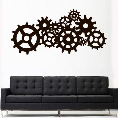 Clock Mechanism Wall Decal Gears Cogwheel Vinyl Sticker Wall Home Interior Wall Decor Mural Housewares 19 grs