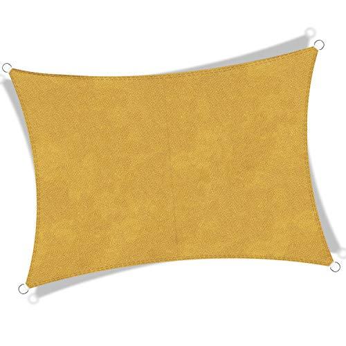 JYYnet Toldo Vela de Sombra, Rectángulo 2×3m Toldo Vela de Sombra Prevención Rayos UV Poliéster Toldo para Terraza Exterior Jardín (2×3m, Arena)