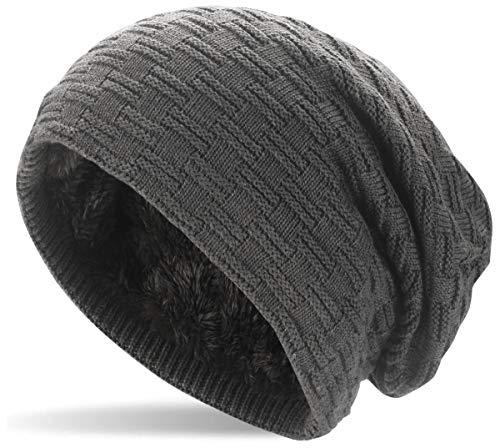 Hatstar Warme gefütterte Feinstrick Damen Beanie Herren Mütze   mit Flecht Muster und sehr weichem Fleece Innenfutter   Unisex Wintermütze weich & warm (3   dunkelgrau)