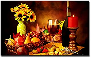 Fresh Look Color Wall Art Painting Red Wine in Goblet Nuts Strawberry Corkscrew Yellow Flowers Pictures Prints On Canvas Food The Picture Decor Oil for Home Modern Decoration Print
