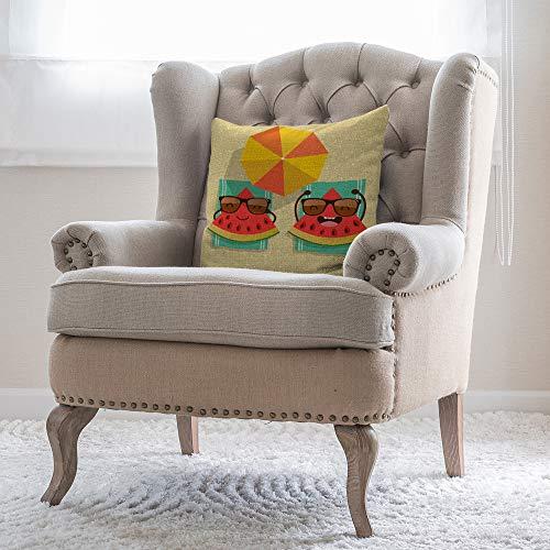 Bloong Fundas de almohada decorativas de 40,6 x 40,6 cm, diseño de sandía, playa, sol, paraguas, fundas de almohada de lino y algodón, cojín cuadrado para sofá cama